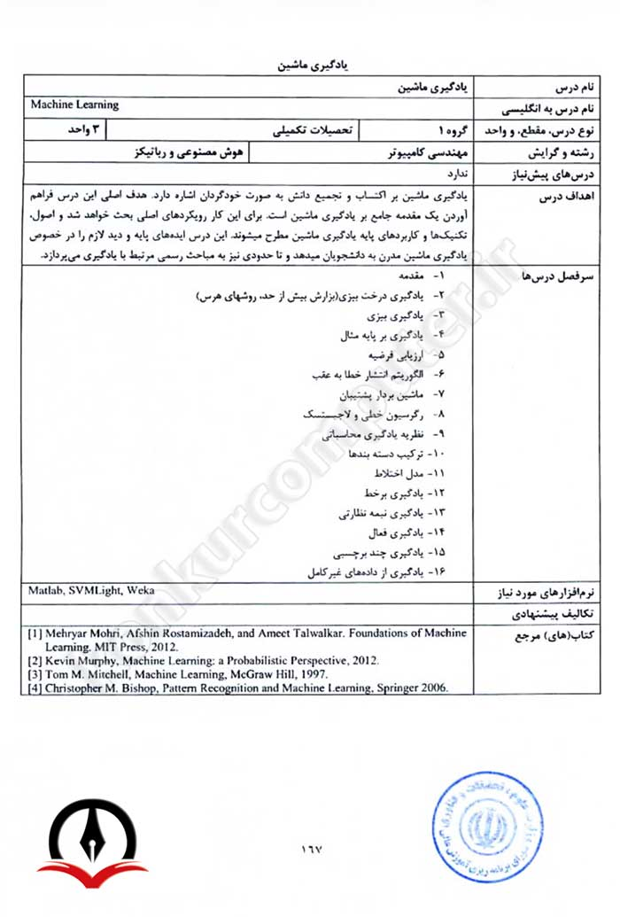 منابع مورد تایید وزارت علوم - یادگیری ماشین